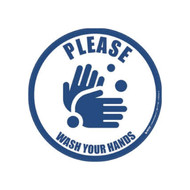 "Removable Social Distance Floor Sign: Please Wash Your Hands w/Hand Washing, 12"" Diameter, Blue White"