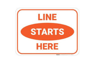 """A photograph of an orange and white 05413 removable social distance floor sign, reading line starts here, wit dimensions 9"""" x 12""""."""