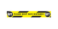 """A photograph of a yellow and black 05420 removable social distance floor sign, reading please keep safe distance, with dimensions 3"""" x 36""""."""