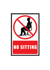 """A photograph of a red and white 11307 removable social distance floor sign, reading no sitting, with person graphic, and dimensions 9"""" x 12""""."""