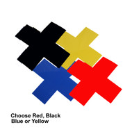 """A photograph of the 06430 removable """"X"""" markers in black, yellow, blue, and red, with dimensions 6"""" x 6"""" x 2""""."""