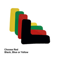 """A photograph of the 06431 removable corner markers, in yellow, green, red, and black, with dimensions 6"""" x 6"""" x 2""""."""