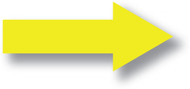 """A photograph of a yellow 05440 removable plain arrow, with dimensions 6"""" x 18"""", and 10 per pack."""
