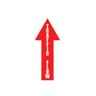 """A photograph of a red 5441 removable traffic flow arrow, with dimensions 4"""" x 12""""."""
