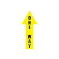 """A photograph of a yellow and black 05442 removable one way arrow, with dimensions 4"""" x 12""""."""