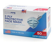 A picture of the box containing 50 masks, closed.