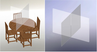 A photograph of a 11402 table top x shape clear partition by itself and in use on a table.