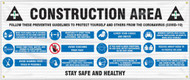 Drawing of the Construction Area; Follow These Preventative Guidelines (COVID-19) safety banner.