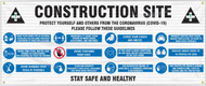 Drawing of the Construction Area; Protect Yourself and Others From the Coronavirus (COVID-19) safety banner.
