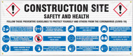 Mesh Safety Banner: Construction Area; Follow These Preventative Guidelines to Protect Yourself and Others (COVID-19)