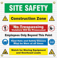 Drawing of the Safety Banner/Sign: Site Safety | Construction Zone.