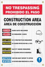 Drawing of the Bilingual Safety Banner/Sign: Site Safety Sign | No Trespassing | Construction Area.