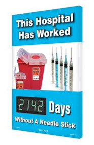 Illustration of the his Hospital Has Worked - ___ Days Without A Needle Stick Digi-Day® 3 Electronic Scoreboard.