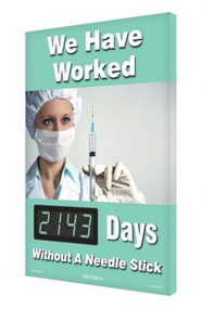Illustration of the We Have Worked - ___ Days Without A Needle Stick Digi-Day® 3 Electronic Scoreboard.