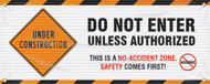 Drawing of the Do Not Enter Unless Authorized; This Is A No-Accident Zone | Safety Comes First Gate Screen.