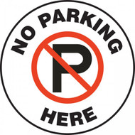 A photograph of a white and black 11255 pavement print sign, reading no parking here, with no parking symbol.