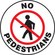 A photograph of a white and black 11256 pavement print sign, reading no pedestrians, with person walking graphic.