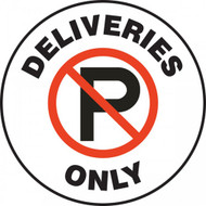 "Pavement Print Sign: Deliveries Only, 17"" diameter"