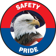 "This patriotic red, white, and blue sign features the text ""Safety Pride"". The center features the image of a bald eagle surrounded by an American flag. Use to raise awareness of safety patriotically."