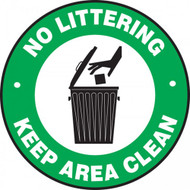 "This green, white, and black sign features the text ""No Littering Keep Area Clean"". In the center is the image of a hand throwing out trash in a garbage can. Use to prevent garbage and littering."