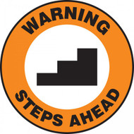 "This orange, white, and black sign features the text ""Warning Steps Ahead"". In the center is the image of a a series of stairs. Use to warn of sudden steps and stairs to prevent accidents."