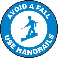 "This blue and white sign features the text ""Avoid A Fall Use Handrails"" along a blue border. In the center, there is the image of person using a handrail while going down a staircase. Use to help prevent slips and falls on stairs."