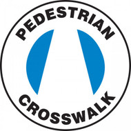 "This white and blue sign has the text ""Pedestrian Crosswalk"" and features the blue image of a crosswalk across the center of the sign. Use to mark pedestrian crosswalks and prevent accidents from misuse."