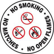 "This white, black, and red sign has three statements on it, ""No Smoking"", ""No Matches"", and ""No Open Flames"". The center has a matching graphics of a cigarette, match, and fire, each with cross through them. Use to prevent any form of uncontrolled flame."