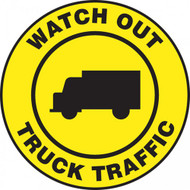"This black and yellow sign reads ""Watch Out Truck Traffic"" in a yellow strip along the border. The center features a black image of a truck on a yellow background. Use in areas that see frequent truck traffic and usage."