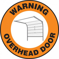 "This orange, black, and white sign reads ""Warning Overhead Door"" along the border. The center features the image of a sliding overhead door to demonstrate the warning. Use to prevent accidents from unawareness."