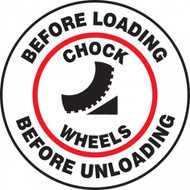 "This white, black, and red sign reads ""Before Loading, Before Unloading, Chock Wheels"". The center features the image of a chock being used on a wheel, surrounded by the text to ""chock wheels"" and a red circle. Use to prevent vehicle accidents especially when loading."