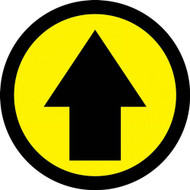 This black and colorful sign points out a direction or object with a black arrow on a colored background. Available in yellow, green, orange, red, and blue.