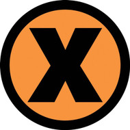 This black and colorful sign displays an x shaped marking to denote the wrong area or direction. Use to prevent accidents or mark off limits areas and objects.