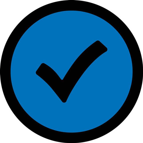 This black and blue or green sign displays a large black check mark on a colorful background. Use to show the correct way, object, or path to prevent accidents.