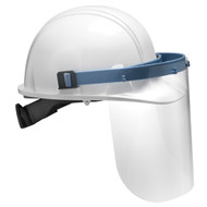 A side view of the faceshield mounted on a hard hat