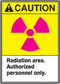 "This sign has an ANSI CAUTION header on a yellow background, a magenta international radiation symbol, and a white text box with ""Radiation Area. Authorized personnel only."" in black text."