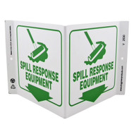 "White V-shaped sign with green broom/cleanup icon, green text of ""SPILL RESPONSE EQUIPMENT"" and green down arrow on both faces."