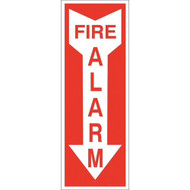A photograph of a z-1892 zing eco-friendly fire alarm signs w/ down arrow, 14 h x 3.25 w, regular and photoluminescent.