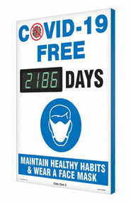 A photograph of a 06397 Digi-Day® 3 Electronic Scoreboard: COVID-19 Free ____ Days - Maintain Healthy Habits