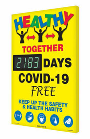 A photograph of a 06398 Digi-Day® 3 Electronic Scoreboard: Healthy Together - ____ Days COVID-19 Free - Keep Up The Safety