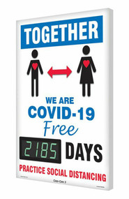 A photograph of a 06399 digi-day® 3 electronic scoreboard: together we are covid-19 free ____ days - practice social distancing.