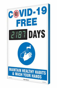 A photograph of a 06400 Digi-Day® 3 Electronic Scoreboard: COVID-19 Free ____ Days - Maintain Healthy Habits.