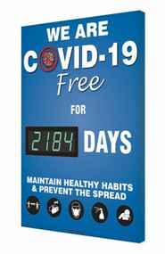 A photograph of a 06401 Digi-Day® 3 Electronic Scoreboard: We Are COVID-19 Free For ____ Days - Maintain Healthy Habits.