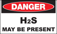 "Zing Danger H2S May Be Present Signs, 7"" h x 10"" w, Plastic"