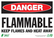 "Zing Danger Flammable Keep Flames And Heat Away Signs, 7"" h x 10"" w, Plastic"