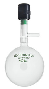 A photograph of a af-0094 storage flask, chem-cap® valve w/ cajon® sidearm, round bottom.