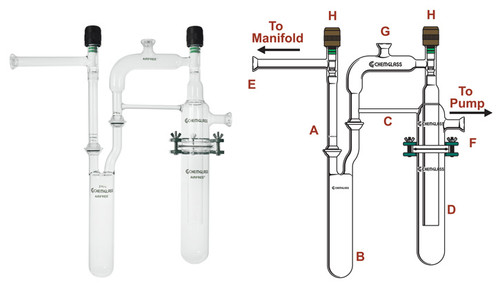 A photograph of a af-0203 dual vacuum trap assembly.