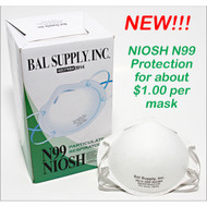 "A picture of a mask next to the box of 20 masks with text of ""NEW!!! NIOSH N99 Protection as low as $1.00 each!"""