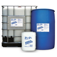 A picture of a 5 gallon pail, 55 gallon drum, and 265 tote of Ansul NFF 3x3 UL201 3%x3% Non-Fluorinated Foam Concentrate next to each other.