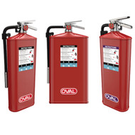 A photograph showing (from left to right) Oval 10H-ABC, Oval 10JH-ABC, and Oval 10H-PKP fire extinguishers.